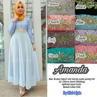 Dress Brukat import mix ceruty lapis furing full