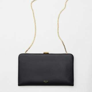 Celine Clasp Large Wallet on Chain in Smooth Calfskin