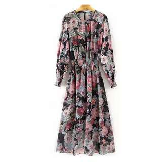 European and American style dress loose was thin MIDI print two-piece dress