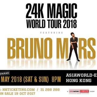 ***最後2張第1行! ***  Bruno mars 香港演唱會