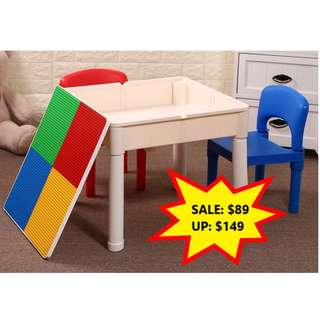 Pre Order - Multi Purpose Activity Table & Chair Set With LEGO compatible board