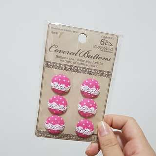 Daiso Pink Dotted Lace Buttons