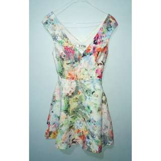 Zara Trafaluc Floral Abstract Dress