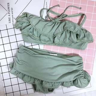 [全新]日本購入-荷葉平口綁帶比基尼+泳褲