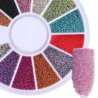 12 Color Steel Ball Caviar Beads 3D Nail Decoration Colorful Manicure Nail Art Glitter Decoration # 456