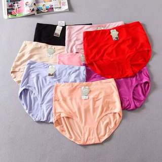 Plus size stretch high-waisted solid color light comfort triangle briefs