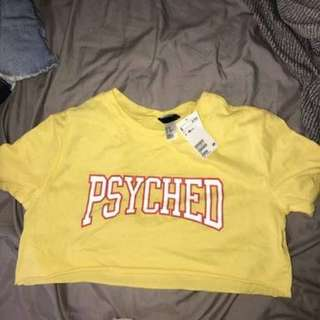 Yellow H&M Psyched Crop Top