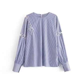 Korean version striped strap element women loose casual shirt