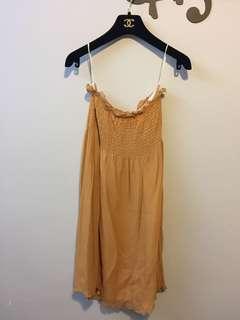 橙啡色Low cut晚裝/姊妹裙