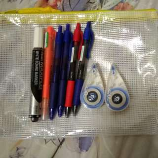 A set of Popular & Pilot pens, Plus correction tapes, Pentel marker, Pilot highlighter
