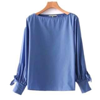 Women's 2018 cuff bow design blue shirt