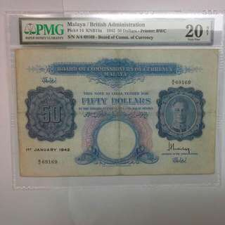Malaya $50 1942 King George Vi Note