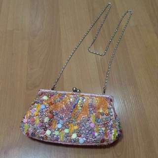 New:freeSF pink beads sling bag
