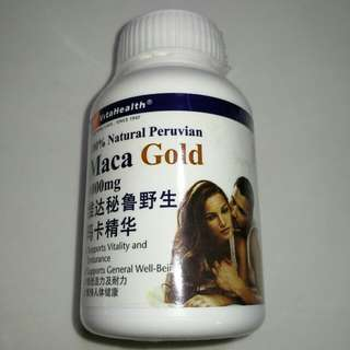 New VitaHealth 100% Natural Peruvian Maca Gold 1000mg Supports vitality & endurance Supports General well-being 30tablets