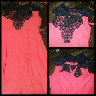 Moving out Sale! Repriced! Red with Black Lace dress