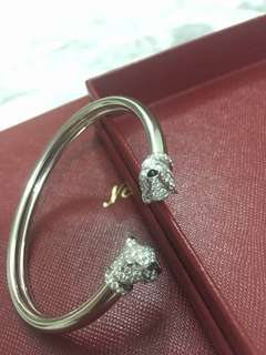 Cartier Panthere 2 heads White Gold w Diamond Bangle