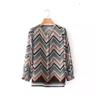 European style pleated sleeves geometric print shirt long-sleeved temperament shirt design