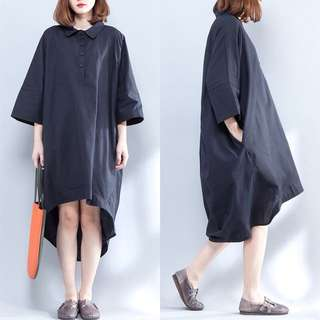 Plus size loose fitting casual Loose shirt dress Long shirt