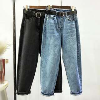 (S~5XL) Spring and summer Korean version of the straight ins waist relaxed nine points female wide leg Hallen trousers