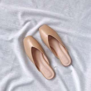Square Mules in Nude