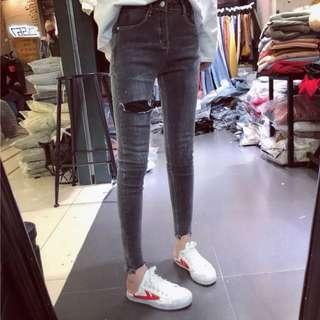 (S~5XL) Spring and autumn high waist hole jeans women stretch nine feet feet pants