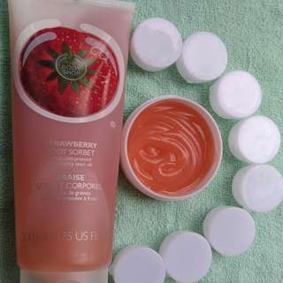 OBRAL !! THE BODY SHOP BODY SORBET STRAWBERRY share in jar 5ml