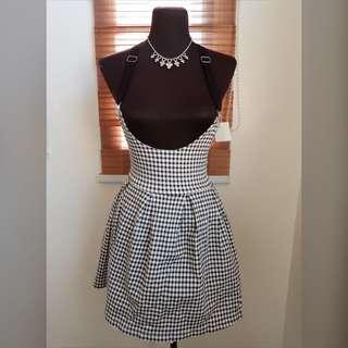 🖤⚪️Black & White Checkered Suspender Dress⚪️🖤