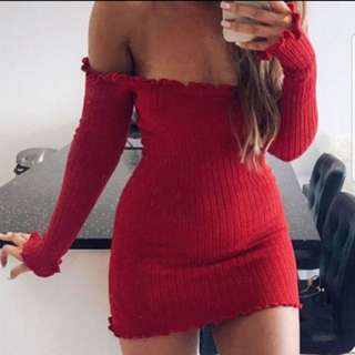 Red Off-The-Shoulder Sexy Knitted Strapless Dress