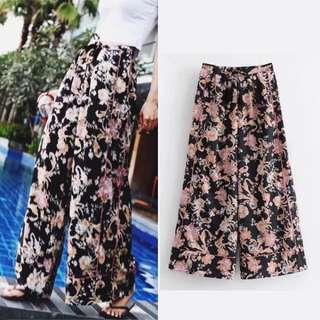 2018 Spring and summer Europe and the United States women's retro tassels printed pants loose tight waist drawstring wide leg pants trousers