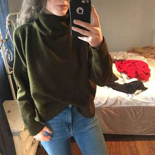 Topshop Green Turtleneck