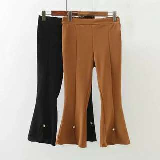 (XL~4XL) Korean women's wild solid color stretch bell-bottoms spring and summer models