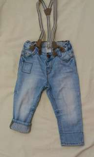 H&M Denim Pants with removable suspenders