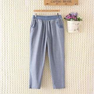 (XL~4XL) Cotton trousers casual pants loose large size nine points linen pants