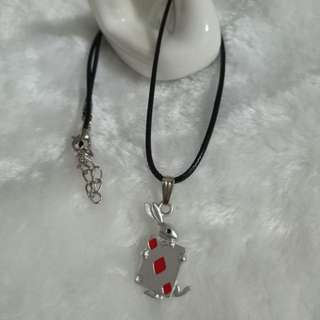 Red poker rabbit necklace