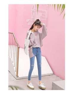 Korean Style Popular High Waist Rip Tear Jeans