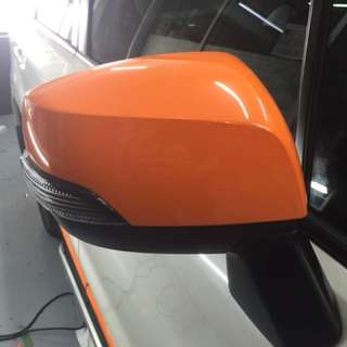 Side mirror wrap orange