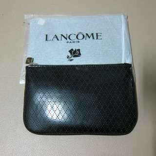 Lancome 黑色菱格漆皮化妝袋 小包包 bag