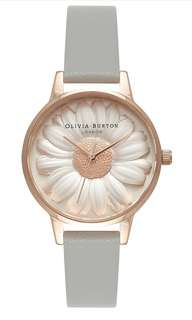 Olivia Burton OB15EG50 Women's Flower Show 3D Daisy Leather Strap Watch, Grey/Rose Gold, Grey