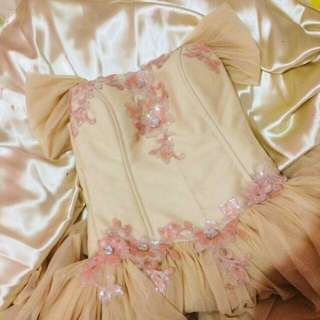 Peach Pink / Cream Ball Gown Prom Gown ✨FOR RENT