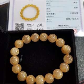 New 12mm Golden Rutilated Quartz Bracelet With Cert