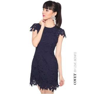 Love Bonito Covet Peire Lace Dress in Navy