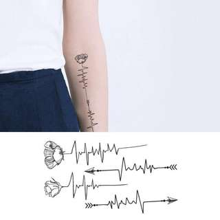 BN Instock Temporary Tattoo Temp Tattoos Pulse Rose Floral Arrow