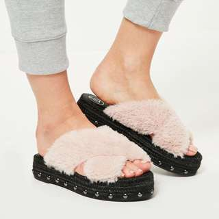 Missguided Pink Faux Slides