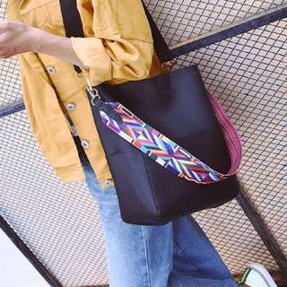 Instock Tribal Strap Shoulder Bag Black