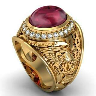 Ruby simulant USA freedom eagles army military ring