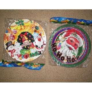 Bulk 200 Party Plates Disposable (Christmas theme)