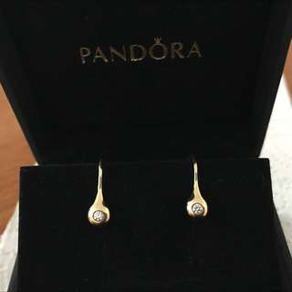 Pandora Lovepods diamond 18ct yellow gold earrings