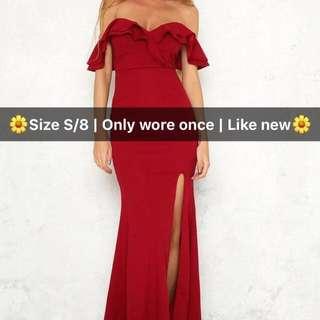 Wine Off the Shoulder Formal Dress