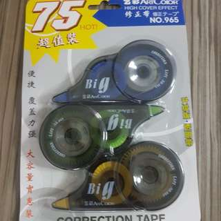 Correction tape. Quality and long. Pack of 3pc. 1pkt $3 or 2 pkt $5. 75m for pk of 3pc.Bal: 9 packs