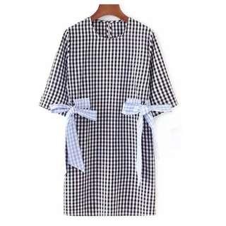 women's retro color fight lattice grid bow loose dress seven sleeve thin straight skirt
